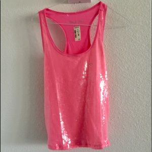 Aeropostale NWT bright pink sequin tank top